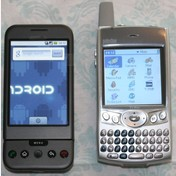 HTC G1 side by side with my old PalmOne Treo 600